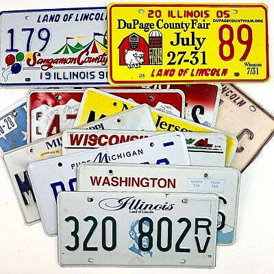 Craft License Plates Mixed Lot Vtg 10 Tags 8-9 States Old Garage Ship Worldwide