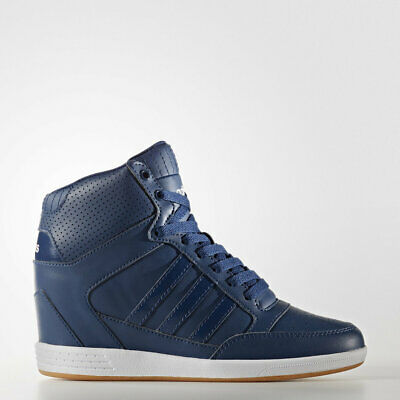 Adidas High Top Blue Comfort Suede Wedge Shoes Boots Walking Aw4847 Nib Prm 1b9faf5fe