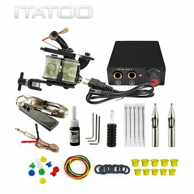 Complete Tattoo Kit 1 Machine Gun Pro Power Supply Black Color Ink Set Needles