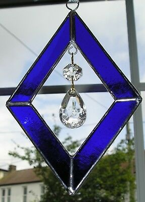 Stained Glass Blue Diamond Shaped Suncatcher With Crystals, Hand Made in England