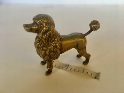 Brass Poodle Dog Figural Mechanical Sewing Notions Tape Measure Antique German