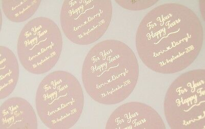 For your happy tears wedding stickers * Foil Personalised tissue labels *