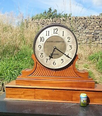 Antique Huge Large Massive Fusee Mahogany Brass Clock Bracher Sydenham Reading