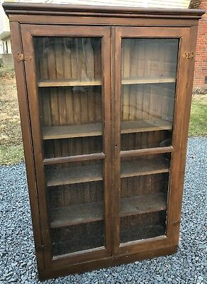 Antique 2 Door Bookcase With Wavey Glass With Beaded Backing