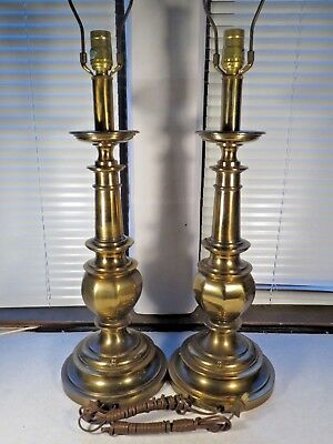 Vintage Matching Pair Stiffel Brass Lamps Mid Century Hollywood Regency  Works