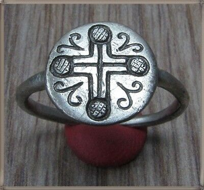 Ancient Silver Byzantine  Ring ** CROSS ** VERY RARE**INTACT**