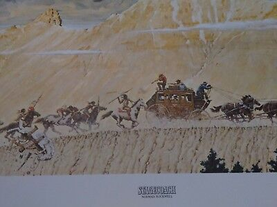 Vintage 1966 Norman Rockwell The Stagecoach Print 27.5 x 14  w/ signed letter.