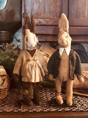 Handmade Prim rabbit vanilla and tea stained great for any country /prim collect