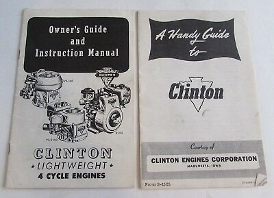 Vtg Clinton 4 Cycle Engines Owners Guide Manual Handy Guide to Clinton Brochure