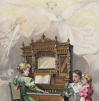 Angle Choir Chicago Cottage Organ Cable Piano Co poem 1895 York Advertising Card