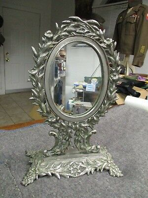 Vintage antique Mirror with decorative nickel plated brass stand & frame 12 1/2""
