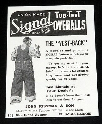 1935 Old Magazine Print Ad, Signal Tub-Test Overalls, Union Made With Vest-Back.