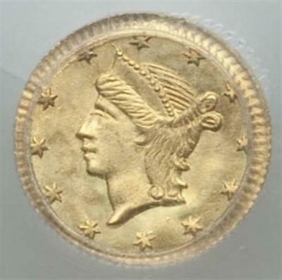 ND(1853) Round Liberty G25C California Fractional Gold / BG-222 OGH PCGS MS64