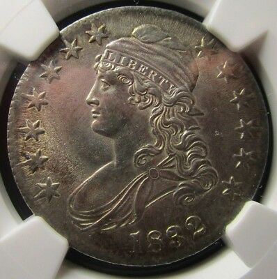 1832 capped bust half dollar. NGC AU58. O-105a R-4! RAREST VARIETY OF THE YEAR.