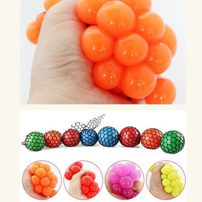 Silicone Anti-Stress Squishy Mesh Ball Grape Squeeze Sensory Fruity Toys Novelty