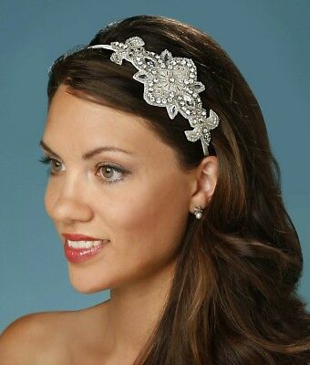 David Tutera Silver Ivory Bridal Rhinestone Crystal Side Headband Tiara
