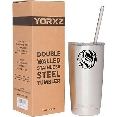 YORXZ Stainless Steel Double-Wall Vacuum Tumbler with Sliding Lid and Straw (...
