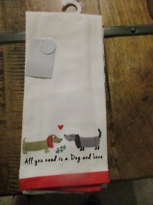 Set of 2 Dachshund Dog Love Heart Kitchen Towels - ALL YOU NEED IS A DOG..NEW