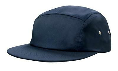 5 PANEL Cotton Twill Square Front FLAT Peak with Metal Eyelets Cap Hat - Navy