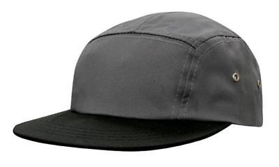 5 PANEL Cotton Twill Square Front FLAT Peak with Metal Eyelets Cap Hat -Charcoal