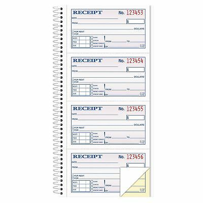 TOPS - Money/Rent Receipt Spiral Book, 2-3/4 x 4 3/4, 2-Part Carbonless, 200 Set