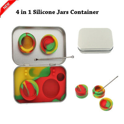 5ml Wax Tin Silicone Jars Dab 4 in 1 Non-Stick w/Tool Container Stainless Steel