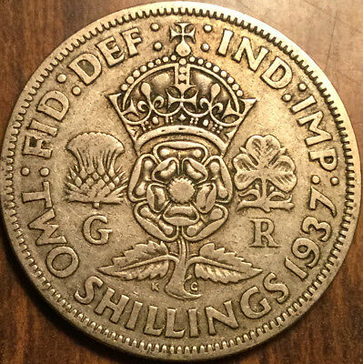 1937 Gb Uk Great Britain Florin .500 Silver Two Shillings
