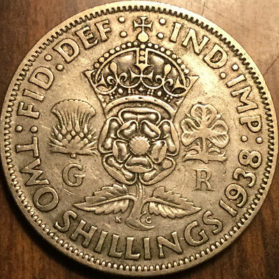 1938 Gb Uk Great Britain Florin .500 Silver Two Shillings