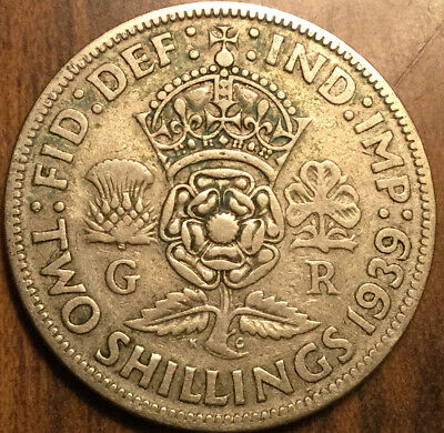 1939 Gb Uk Great Britain Florin .500 Silver Two Shillings
