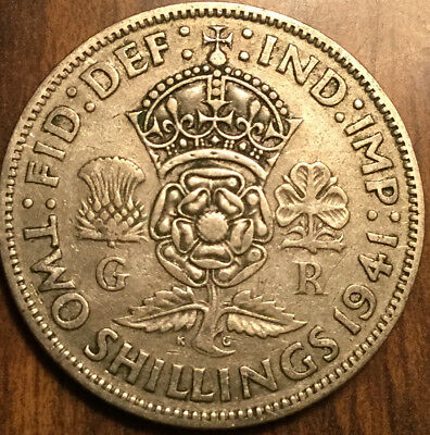 1941 Gb Uk Great Britain Florin .500 Silver Two Shillings