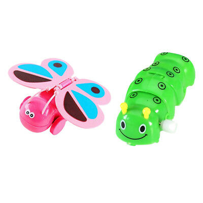 2Pc Wind Up Toy Clockwork Caterpillar & Butterfly Figure for Kids Developing