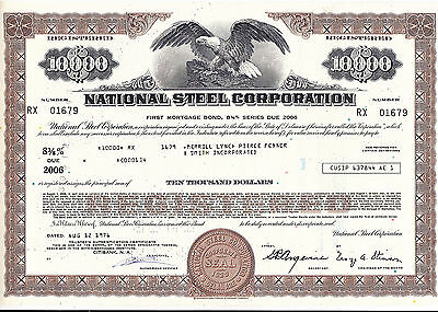 National Steel Corporation-8% First Mortgage Bond-10000 $ v.1976