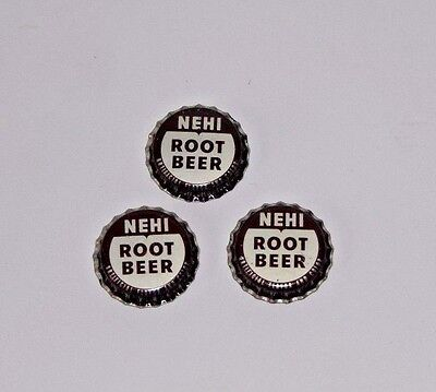 3 Nehi Root Beer Soda Pop Bottle Caps Crowns: Unused Cork