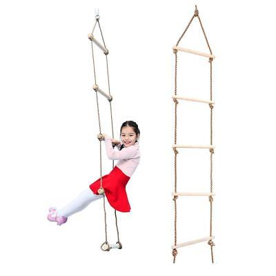 Outdoor Fun 5 Rungs Wooden Rope Climbing Ladder Swing Toy Playground Game