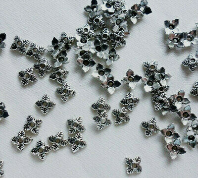 50 Leaf Bead Caps 6mm Antique Silver Coloured #bc3895 Combine Post-See Listing