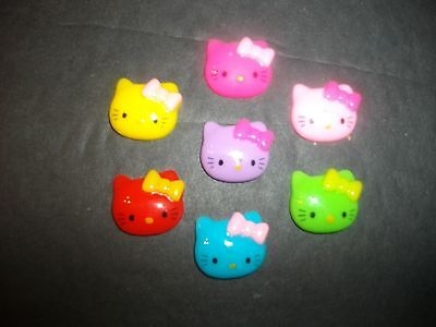 New Lot of 14 Mixed Color Kitty Flatbacks 19MM US SELLER  118
