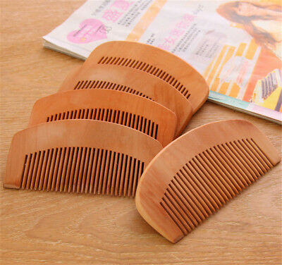 Hot 2PCs Men Hair Care Static-free Peach Wood Wooden Comb Hairbrush