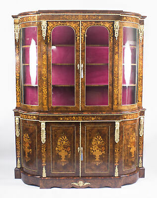 Antique Victorian Ormolu Mounted Burr Walnut Floral Marquetry Cabinet 19thC