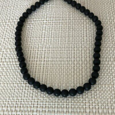 Mens Black Onyx Matte Beaded Necklace Long and Short Jewelry Round