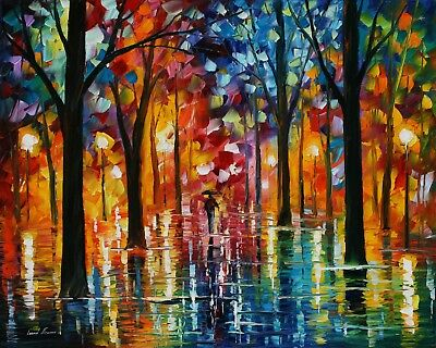 """STUNNING COLOURFUL OIL PAINTING/TREES/PARK CANVAS PICTURE WALL ART LARGE 20x30"""""""
