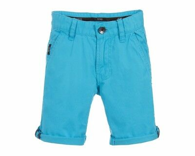Sale Hugo Boss Kids J24524 75G Cotton Boys Chino Shorts Blue