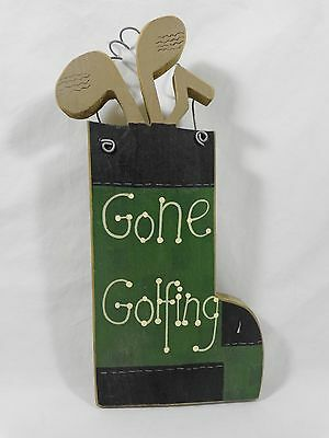 "GONE GOLFING Wall Decor Sign Plaque Golf Bag Wood Wire 10.5"" Green Black"