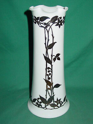 Antique Sterling Silver Overlay Vase Art Nouveau Porcelain Tall