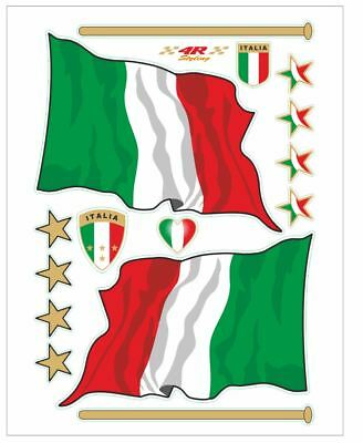Vespa  Scooter Decor Kit Italian Flag Stickers Emblems  Italian Made
