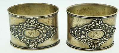 Pair Of Richard Muller Russian 875 Silver Art Deco Floral Napkin Rings With Mono