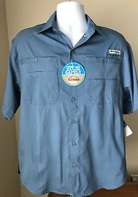 eb223ea88 Columbia MEN'S PFG TAMIAMI II SHORT SLEEVE SHIRT BLUE SMALL FISHING VENTED  NWT