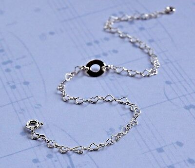 ANKLET solid 925 Sterling Silver  Dainty Love Heart Eternity Ankle Bracelet