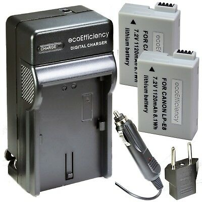 ecoEfficiency 2-Pack of LP-E8 Batteries and Battery Charger for Select Canon...