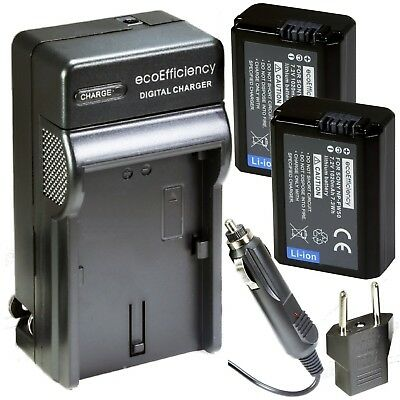 ecoEfficiency 2-Pack Of NP-FW50 Batteries & Charger for Sony Sony Alpha 7,...