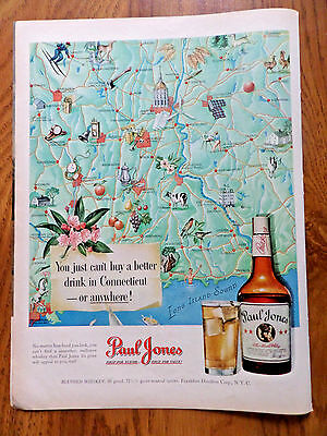 1950 Paul Jones Whiskey Ad Map of the State of Connecticut